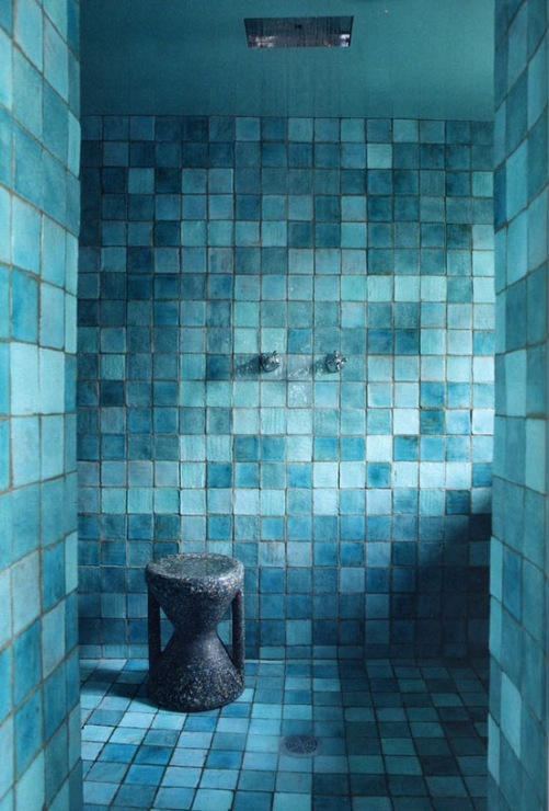 Blue glass tile bathroom
