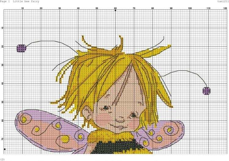 Схему вышивки крестом пчелка 11