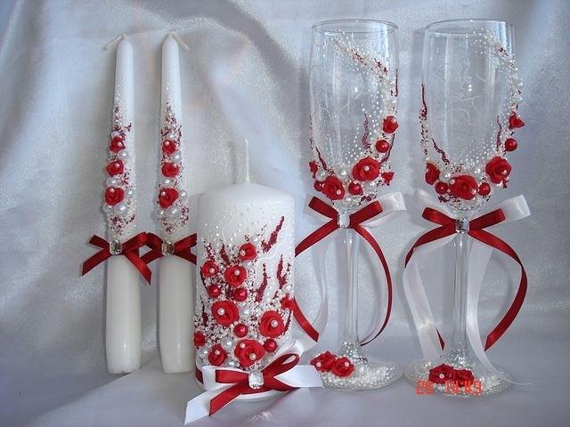 Бокалы на свадьбу в красно-белом цвете своими руками 96
