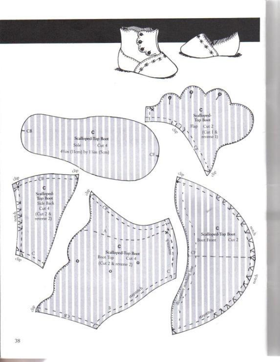 Выкройки обуви для интерьерной куклы 25