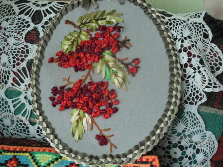 Рябина вышивка из лент 654