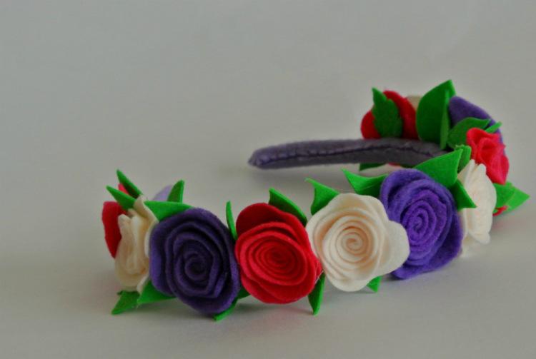 Ободок с цветами из фетра своими руками 67
