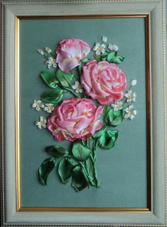 Вышивка лентами розы самые шикарные картины 125