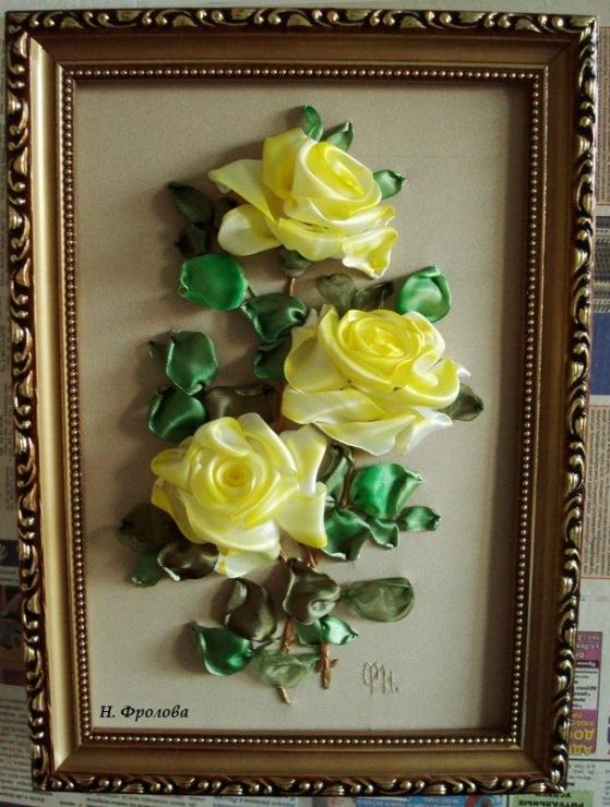 Картина цветы из атласных лент своими руками 96