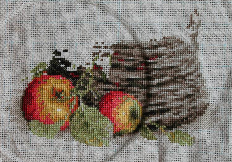 Вышивка круглой скатерти крестиком 87
