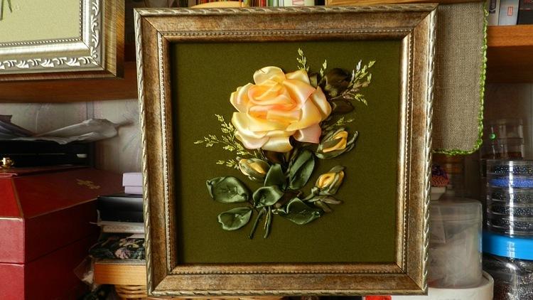 Вышивка лентами розы с листьями от мастера шепилова 66