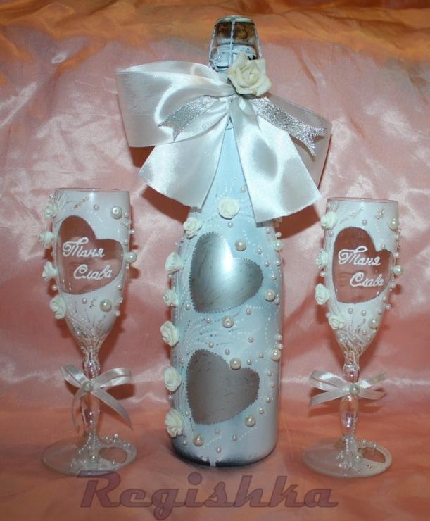 Как украсить красиво шампанское на свадьбу своими руками 7722