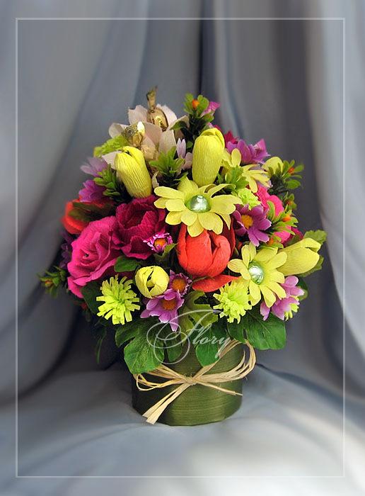 Цветы в горшке из конфет своими руками 28
