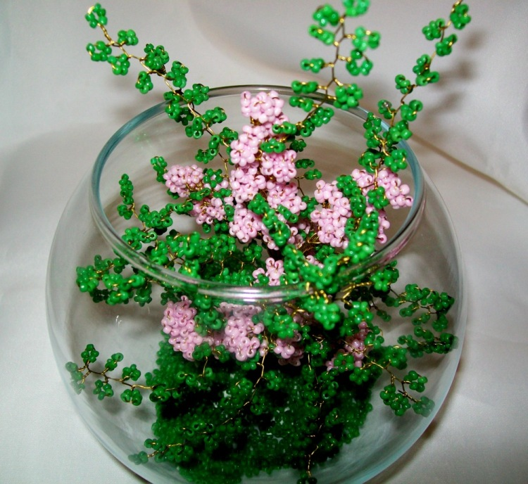 Фантазийные цветы из бисера мастер класс