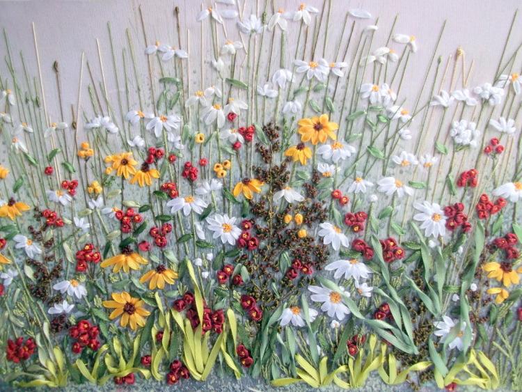 Полевые цветы вышивка лентам