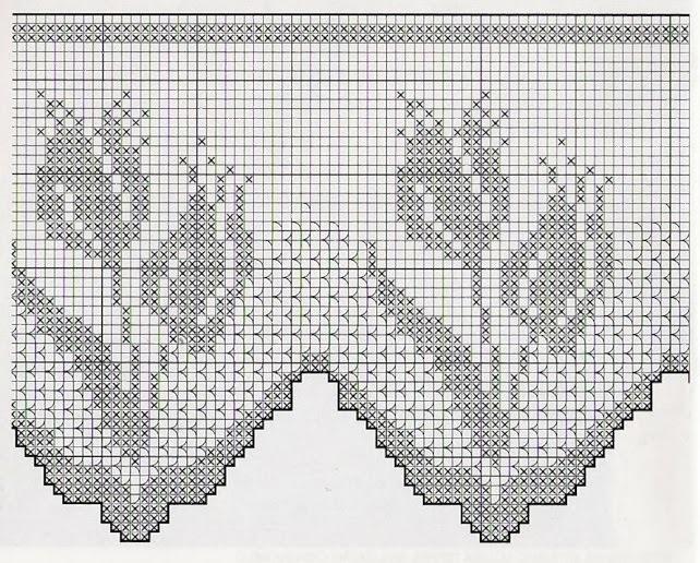 Тюльпаны филейное вязание 2