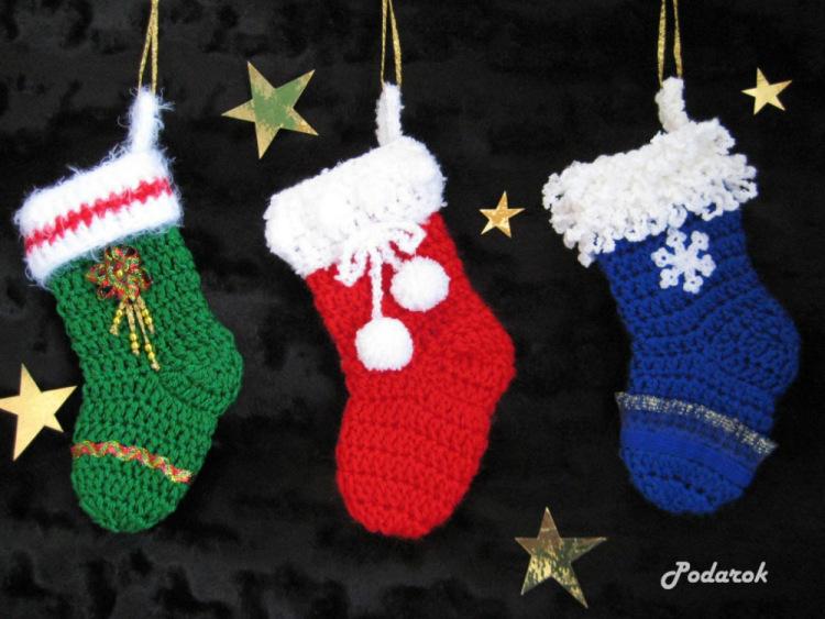 Вязание крючком рождественский носок