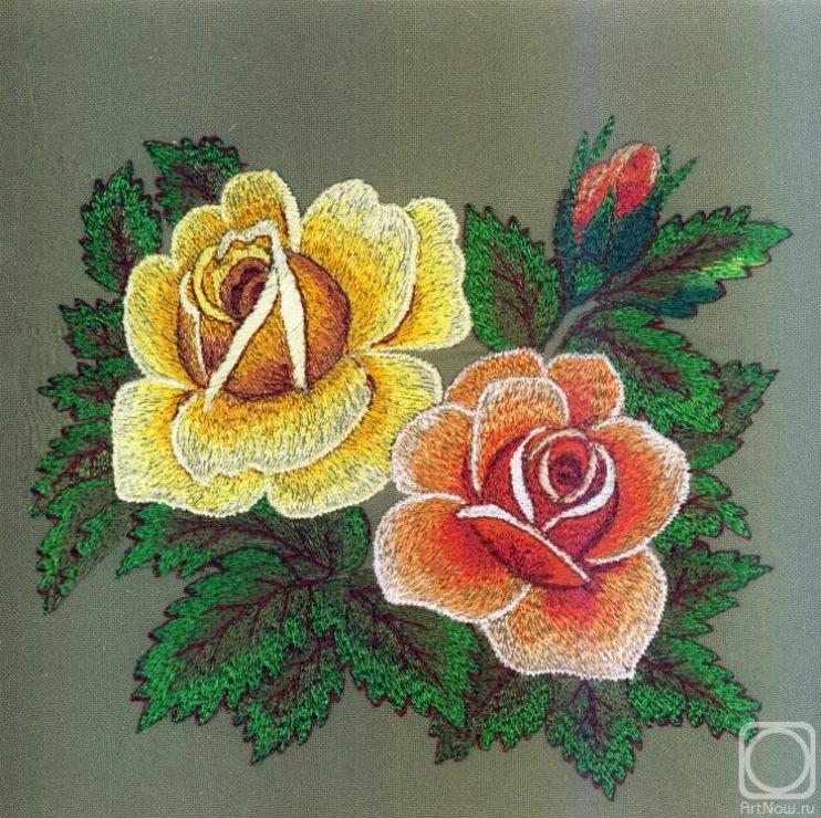 вышивка цветов рококо лотос Частичная
