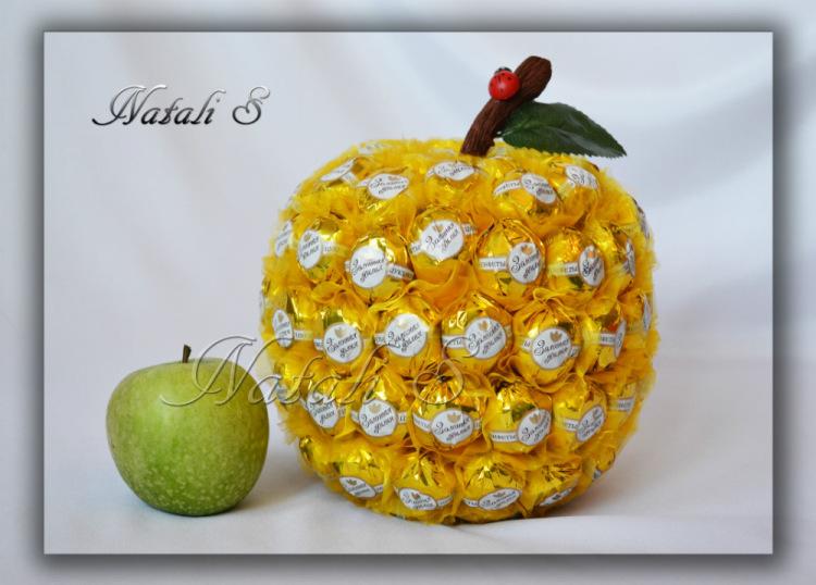Яблоко из конфет своими руками пошаговое фото - Jtl-spb.ru