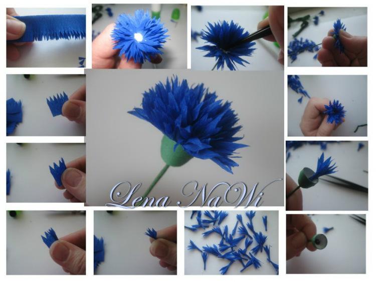 Цветок василек своими руками