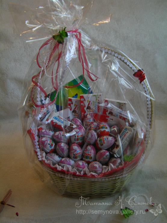Как красиво оформить корзину с конфетами фото