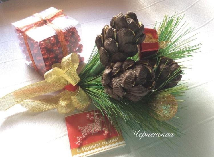 Новогодние букеты из бумаги и конфет своими руками