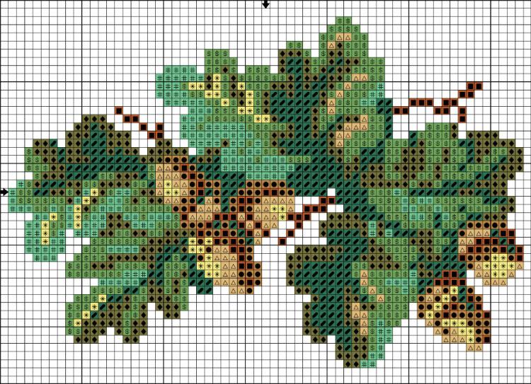 Вышивка крестом листья 59